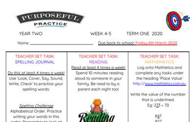 Purposeful Practice Term One – Weeks 4-5