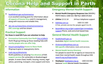 Corona Help and Support in Perth