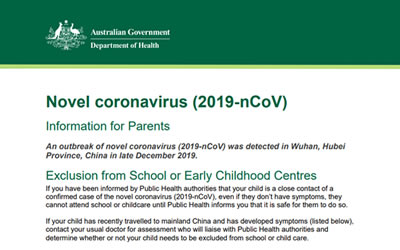 Corona Virus Fact Sheet – Health Department