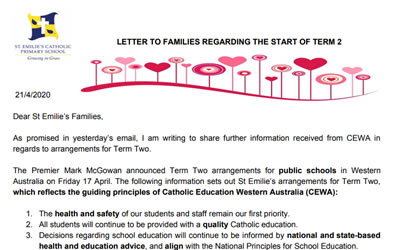 Letter to the Community 21st April 2020