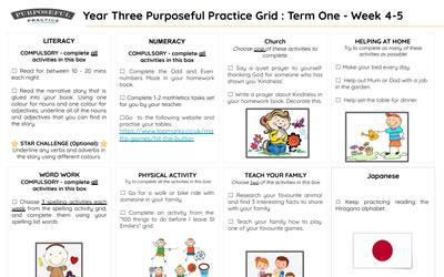 Year Three Purposeful Practice Grid Term One Weeks 4-5
