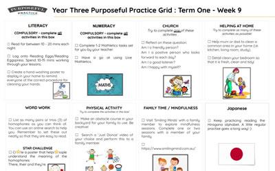 Year Three Purposeful Practice Grid Term One Week 9