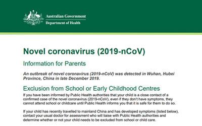 Corona Virus Fact Sheet – Health Department